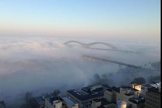 Memphis in clouds