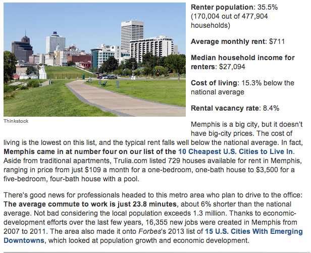 Picture of downtown Memphis as featured in Kiplinger's magazine